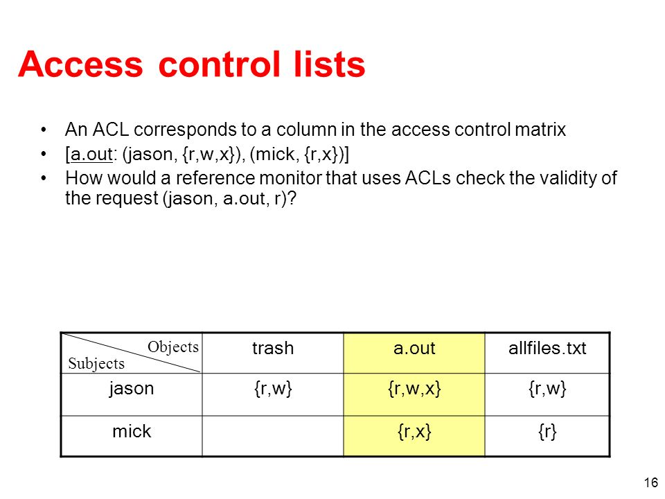 Access control lists An ACL corresponds to a column in the access control matrix. [a.out: (jason, {r,w,x}), (mick, {r,x})]